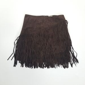 Ariat Brown Leather Cowgirl Fringe Mini Skirt 6